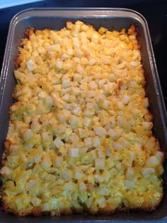 Put in casserole dish. Hashbrown Casserole  *1 large bag of cubed hashbrowns, thawed *1 can cream of chicken *1 stick of butter, melted *8 oz. sour cream *2 cups shredded cheddar cheese *1 tsp. salt *1/2 tsp. pepper  Mix all together & put in 9x13 pan. Cover w/ foil & bake at 350 for 1 hour; remove foil & bake another 20 mins. #fbdinnerclub