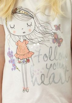 T-shirt graphics , illustrations for girls , cute graphics People Illustration, Illustration Girl, Hand Embroidery Patterns Free, Machine Embroidery, Hand Painted Fabric, Inspiration For Kids, Fabric Painting, Diy For Kids, Art Girl