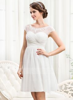 A-Line/Princess Scoop Neck Knee-Length Ruffle Beading Appliques Lace Sequins Zipper Up Cap Straps Sleeveless Beach Hall Reception General Plus No Spring Summer Fall Ivory Tulle Wedding Dress