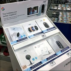 Nest Home Automation Google Interface Display Retail Fixtures, Store Fixtures, Outdoor Camera, Merchandising Displays, Home Automation, Nest, Apple, Google, Cards