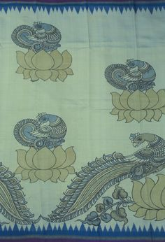 Bindu Giri Handpainted Kalamkari Ikat Silk Sari 1005463 - Saris / Kalamkari - Parisera