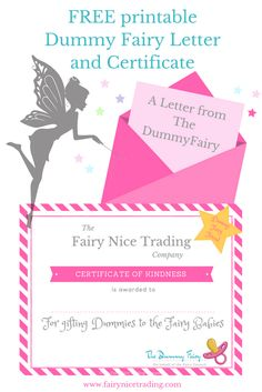 Free printable Dummy Fairy letter and printable Dummy Fairy certificate
