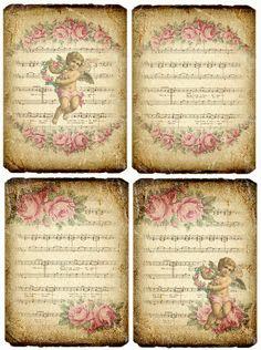 Design Free digital vintage stuff: Roses and Angels Images Vintage, Vintage Tags, Vintage Labels, Vintage Ephemera, Vintage Pictures, Vintage Prints, Vintage Stuff, Decoupage Vintage, Vintage Paper