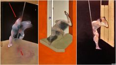 FRANCIS BACON-LEFT: Study of the Human Body, 1981, oil on canvas, 198 by 147.5 inches, private collection.- MIDDLE: Study from the Human Body, 1983, Oil and pastel on canvas- 75 x 58 in.-The Menil Colleciton-RIGHT: Figure in Open Doorway, no more data.
