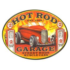 Hot Rod Garage Oval Tin Sign