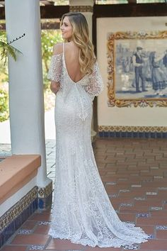 be3881793326 F201057 V-neck Embroidered Lace   Silky Jersey Wedding Dress
