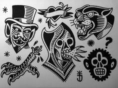 Tattoojoris flash panther skull wizzard