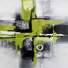 Tableau peinture sur toile-contemporain-Green-system-2-40X40cm