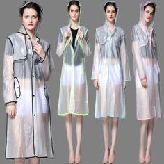 DIY-Unisex-Transparent-Vinyl-Raincoat-Clear-Poncho-Rainwear-Hooded-Waterproof