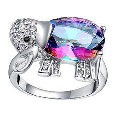 Zircon Elephant Ring ($1,699) ❤ liked on Polyvore featuring jewelry, rings, zircon jewelry, elephant jewellery, elephant ring, zircon rings and elephant jewelry