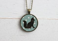 Fox Necklace - Sitting Fox Silhouette - Fabric Necklace Necklace - Wood Pendant Necklace - Nature Jewelry - Laser Engraved Necklace Made by WhileSheWasDreaming Fox Silhouette, Fox Pattern, Fabric Necklace, Engraved Necklace, Laser Engraving, Color Patterns, Canada, Pendant Necklace, Jewellery