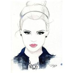 Watercolor and Pen Fashion Illustration She Wore Chanel print ❤ liked on Polyvore featuring sketches, faces, people, drawings and art