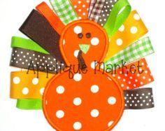 Machine Embroidery Design Applique Turkey Ribbon INSTANT DOWNLOAD
