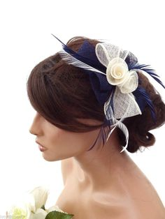 Elegant Cream and Navy Blue Mesh Bow Flower Hair Clip Grip Fascinator Feathers