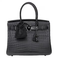 HERMES Black Exotic leathers Handbag Birkin