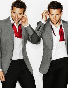 Another contrasting bow tie look: red satin bow tie, gray blazer, white shirt, black pants. Bradley Cooper.