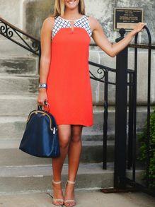 Orange Sleeveless Plaid Color Block Dress US$13.99