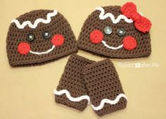 Gingerbread Hat and Legwarmers Set - Get ready for the holidays with a crochet hat pattern and legwarmers. This set will look adorable during a photo shoot for your holiday greeting cards.