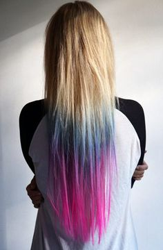 Rita Ora's Dip Dye Hair + 9 More Rad Rainbow Hairstyles via Brit + Co Brunette Ombre, Ombre Hair, Pink Hair, Blonde Hair, Dip Dye Hair, Dyed Hair, Dip Dyed, Pelo Multicolor, Heart Hair