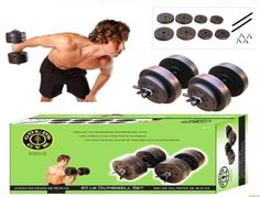 Gym 40-Pound Vinyl Dumbbell Set Muscle Workout Weights Lifting Free Shipping . #GoldsGym