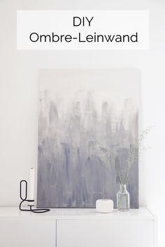 DIY Leinwand mit grauer Farbe im Ombre-Look bemalen - einfache, schnelle, günstige minimalistische Wanddeko im schlichten skandinavischen Stil selber machen. Monochrom und modern einrichten und dekorieren. Tasteboykott Wohnblog.