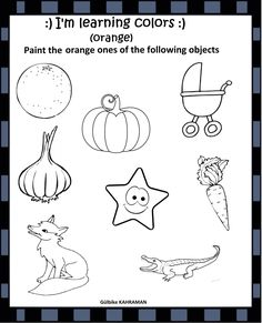 Learning Colors, Kindergarten Worksheets, Orange Color, Objects, Classroom, School, Painting, Fictional Characters, Class Room
