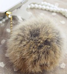 Hey, I found this really awesome Etsy listing at https://www.etsy.com/listing/215645317/rabbit-fur-pom-cell-phone-charm-pendant