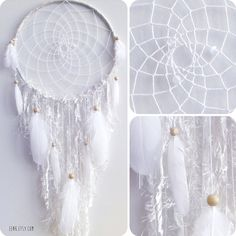 The White Arctic Fox Native Style Woven Dreamcatcher by eenk, $119.00