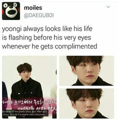 I guess it's because he doesn't believe it which is very sad. Yoongi deserves all the love he gets.