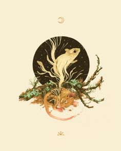 """teaganwhite: """" Hi Portland friends, you have just a couple more days to check out """"Zenith & Nadir"""", my show with Lindsey Carr at Antler Gallery; it closes September Thanks for all your kind. Nature Illustration, Cute Illustration, Illustration Artists, Tarot, Animal Symbolism, Guache, Sketch Inspiration, Traditional Art, Art Inspo"""