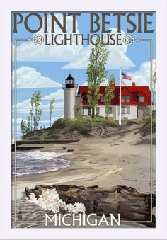 Point Betsie Lighthouse, Michigan - Lantern Press ArtworkQuality Poster Prints Printed in the USA on heavy stock paper Crisp vibrant color image that is resistant to fading Standard size print, ready for framing Perfect for your home, office, or a gift Vintage Films, Vintage Travel Posters, Party Vintage, Michigan Travel, Detroit Michigan, Michigan Vacations, Poster S, Northern Michigan, Road Trip Usa