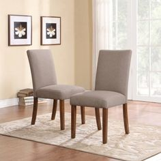 Take any dining area from mundane to marvelous with the Dorel Living Linen Parsons Upholstered Dining Chair - Set of 2 . An easy way to give your dining. Parsons Dining Chairs, Leather Dining Room Chairs, Upholstered Dining Chairs, Dining Chair Set, Dining Room Furniture, Dining Room Table, Dining Rooms, Chair Slipcovers, Ikea Table