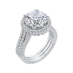 18K White Gold 1 1/3 Ct Diamond Carizza Boutique Semi Mount Engagement Ring fit Round Center - Shah Luxury