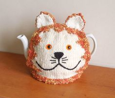 Hand made Ginger cat knitted tea cosy for by CraftyCornishMaids