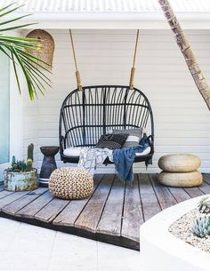 Beautiful hanging twin chair for the backyard or the front porch near the beach.
