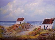 Buy Fisherman's Cottages ( oil on stretched canvas on a frame: 540mm x 380mm x 20mm)for R1.00