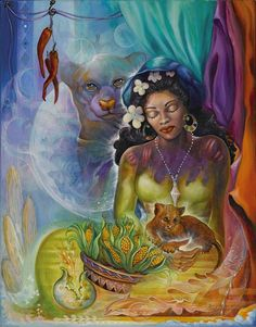 Wildlife Art Painting - Corn Woman And Jaguarandi by Blaze Warrender Native American Photos, Native American Tribes, African American Art, Namaste, Modern Indian Art, Zen Art, Visionary Art, Wildlife Art, Mother Earth