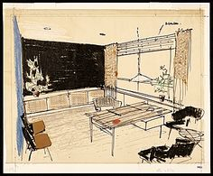 Citation: Sketch of Hans Knoll's office, 1950. Florence Knoll Bassett papers, Archives of American Art, Smithsonian Institution.