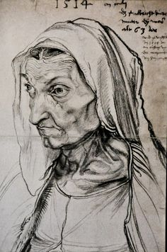 Albrecht Durer Portrait of the Artist's Mother, , Staatliche Museen, Berlin. Read more about the symbolism and interpretation of Portrait of the Artist's Mother by Albrecht Durer. Albrecht Durer, Renaissance Kunst, Pierre Auguste Renoir, Auguste Rodin, Drawing Lessons, Old Master, Oeuvre D'art, Great Artists, Drawing Sketches