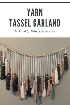 In this post, you'll learn how to make BoHo yarn tassel garland. I was inspired to make this when I found someting very similar at Pottery Barn Teen. Tassle Garland Diy, Tassels, Boho Diy, Boho Decor, Diy Girlande, Macrame Wall Hanging Diy, Pottery Barn Teen, Diy Wall Decor, Daughter