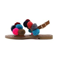 Roman Style Pom Pom Flat Sandals ($33) ❤ liked on Polyvore featuring shoes, sandals, pom pom flat sandals, flat footwear, brown sandals, flat sandals and brown flat shoes
