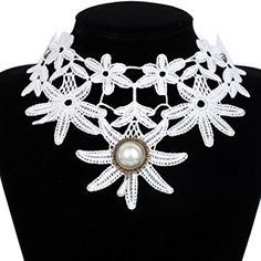 Yazilind Jewelry White Lace Collar Necklace Lolita Gothic Flower Jewelry Sexy Noble for Women Length:13in Review