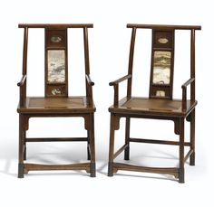 A rare pair of huanghuali high-back armchairs with dali marble panels, 17th century