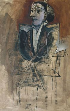 Pablo Picasso, 'Dora Maar Seated' (Dora Maar assise) 1938. Ink, gouache and oil on paper on canvas.