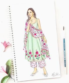 Pretty pink florals to brighten up your rainy days 🌷🌸 Love these bright motifs on a pastel green kurta with a printed dupatta! What's your favorite rainy day style? Dress Design Drawing, Dress Design Sketches, Fashion Design Sketchbook, Fashion Design Drawings, Fashion Sketches, Wedding Dress Sketches, Fashion Drawing Dresses, Fashion Illustration Dresses, Fashion Figure Drawing
