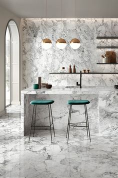 Your dream space is waiting for you. Discover yours today at Euro Tile & Stone. Dinning Room Bar, Dining Chairs, Dining Table, Marble Porcelain Tile, Kitchen Decor, Kitchen Design, New Room, Decoration, Sweet Home