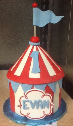 Circus Tent Cake, buttercream with fondant and gumpaste accents. Sweet Boutique Cakes