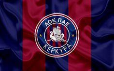 Download wallpapers Kerkyra FC, 4k, Greek football club, Kerkyra emblem, logo, Super League, championship, football, Corfu, Greece, silk texture, flag