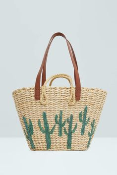 30 best totes for every occasion: For the beach; opt for a Mango woven bag with a fun cactus design. Mango Bags, Mango Handbags, Straw Handbags, Color Type, White Purses, White Bags, White Handbag, Basket Bag, Baggers