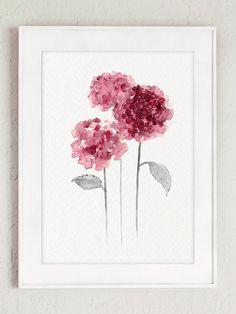 Hortensia rose violet aquarelle. Decor de fleurs abstraites de salon. Fleurs fête des mères cadeau idée Art Print. Cadeaux pour femmes fleur oeuvre. Un prix est pour lensemble des 2 tirages dArt de hortensia. Type de papier : Imprime jusquà (42 x 29, 7cm) 11 x 16 pouces taille sont imprimées sur acide darchivage gratuit 270g/m2 blanc aquarelle Fine Art Paper et conserve laspect de la peinture originale. Plus gros tirages sont imprimés sur 200g/m2 blanc semi brillant affiche papier....